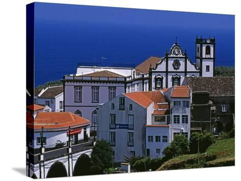 Church Tower Dominates the Town of Nordeste on the Island of Sao Miguel, Azores-William Gray-Stretched Canvas Print