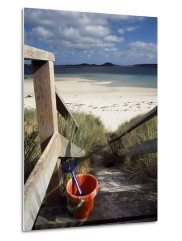 Bucket and Spade on the Steps Leading to the Beach Near Blockhouse Point, Tresco-Fergus Kennedy-Metal Print