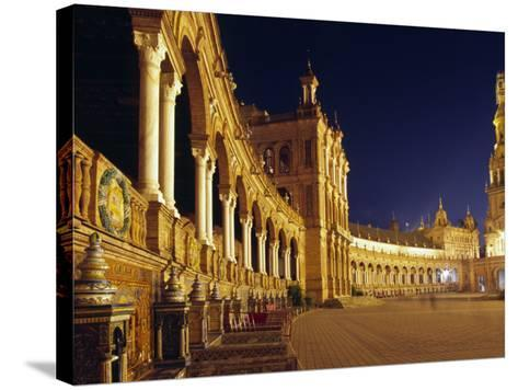 Vast Semi-Circular Plaza De España in Seville-Andrew Watson-Stretched Canvas Print