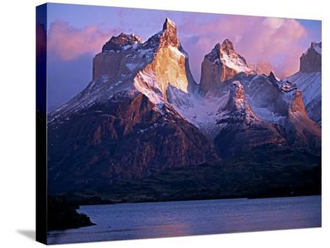Paine Massif at Dawn, Seen across Lago Pehoe, Torres Del Paine National Park, Chile-John Warburton-lee-Stretched Canvas Print