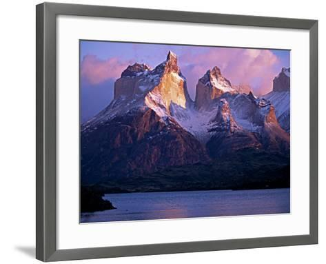 Paine Massif at Dawn, Seen across Lago Pehoe, Torres Del Paine National Park, Chile-John Warburton-lee-Framed Art Print