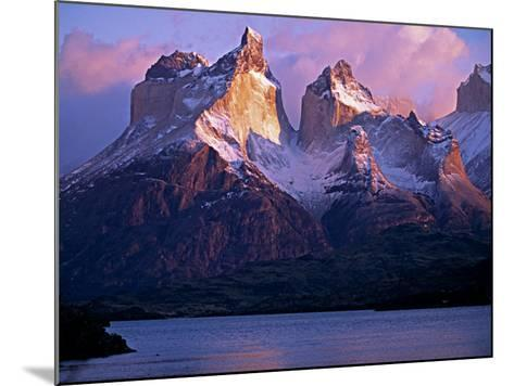 Paine Massif at Dawn, Seen across Lago Pehoe, Torres Del Paine National Park, Chile-John Warburton-lee-Mounted Photographic Print