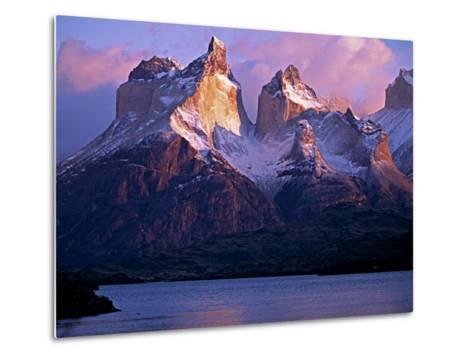 Paine Massif at Dawn, Seen across Lago Pehoe, Torres Del Paine National Park, Chile-John Warburton-lee-Metal Print