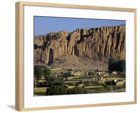 Bamiyan Valley, Showing the Large Buddha, Circa 5th Century, Afghanistan-Antonia Tozer-Framed Art Print