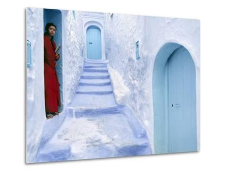 Local Woman Steps Out into Whitewashed Streets of Rif Mountains Town of Chefchaouen, Morocco-Andrew Watson-Metal Print