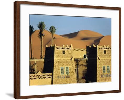 Merzouga a Desert Kasbah Backing onto Giant Sand Dunes of Erg Chebbi in Eastern Morocco, Morocco-Andrew Watson-Framed Art Print