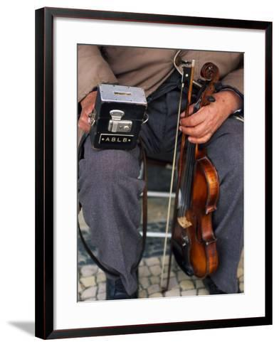 Blind Street Musician Holds His Violin in One Hand and His Collecting Box in the Other-Ian Aitken-Framed Art Print