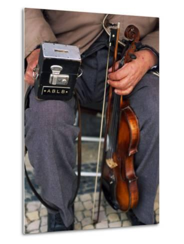Blind Street Musician Holds His Violin in One Hand and His Collecting Box in the Other-Ian Aitken-Metal Print
