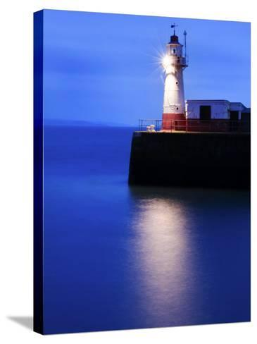 Lighthouse at the End of the Newlyn Pier at Dawn, Long Exposure, Newlyn, Cornwall, UK-Nadia Isakova-Stretched Canvas Print
