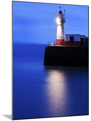 Lighthouse at the End of the Newlyn Pier at Dawn, Long Exposure, Newlyn, Cornwall, UK-Nadia Isakova-Mounted Photographic Print
