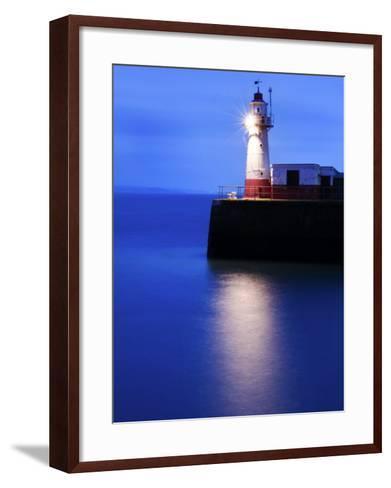 Lighthouse at the End of the Newlyn Pier at Dawn, Long Exposure, Newlyn, Cornwall, UK-Nadia Isakova-Framed Art Print