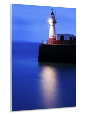 Lighthouse at the End of the Newlyn Pier at Dawn, Long Exposure, Newlyn, Cornwall, UK-Nadia Isakova-Metal Print