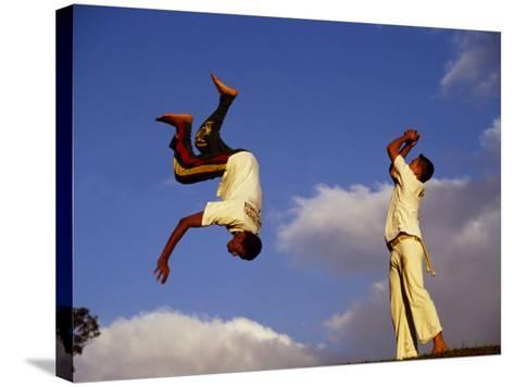 Two Boys Practice Capoeira, the Brazilian Martial Art-Camilla Watson-Stretched Canvas Print