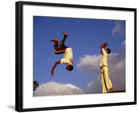 Two Boys Practice Capoeira, the Brazilian Martial Art-Camilla Watson-Framed Art Print