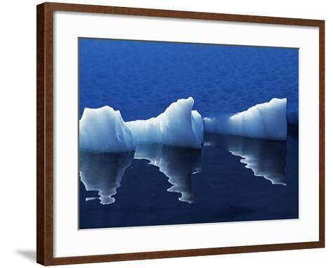 Antarctic Peninsula, Paradise Harbour, Icebergs Colours and Shapes at the Chilean Base in Paradise -Mark Hannaford-Framed Art Print