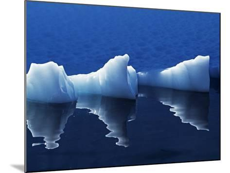 Antarctic Peninsula, Paradise Harbour, Icebergs Colours and Shapes at the Chilean Base in Paradise -Mark Hannaford-Mounted Photographic Print