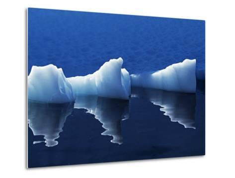 Antarctic Peninsula, Paradise Harbour, Icebergs Colours and Shapes at the Chilean Base in Paradise -Mark Hannaford-Metal Print