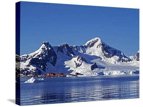 Paradise Harbour, the Chilean Base in Paradise Harbour on Antarctic Peninsula, Antarctica-Mark Hannaford-Stretched Canvas Print