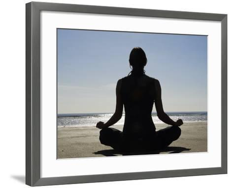Yoga on the Beach, Northern Ireland-John Warburton-lee-Framed Art Print