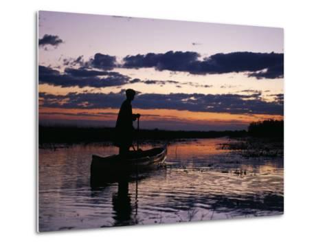 Zambia Game Scout Poling Mokorro Along Lukulu River at Sunset-John Warburton-lee-Metal Print