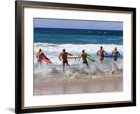 Surf Lifesavers Sprint for Water During a Rescue Board Race at Cronulla Beach, Sydney, Australia-Andrew Watson-Framed Art Print