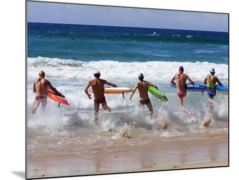 Surf Lifesavers Sprint for Water During a Rescue Board Race at Cronulla Beach, Sydney, Australia-Andrew Watson-Mounted Photographic Print