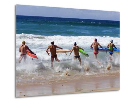 Surf Lifesavers Sprint for Water During a Rescue Board Race at Cronulla Beach, Sydney, Australia-Andrew Watson-Metal Print