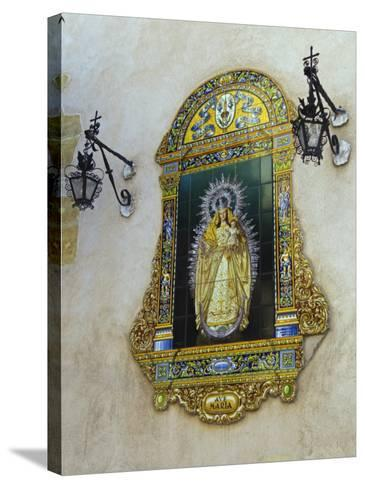 Tiled Picture of Mary and Jesus on a Street in Seville, Spain-John Warburton-lee-Stretched Canvas Print