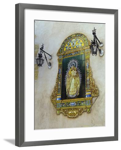 Tiled Picture of Mary and Jesus on a Street in Seville, Spain-John Warburton-lee-Framed Art Print