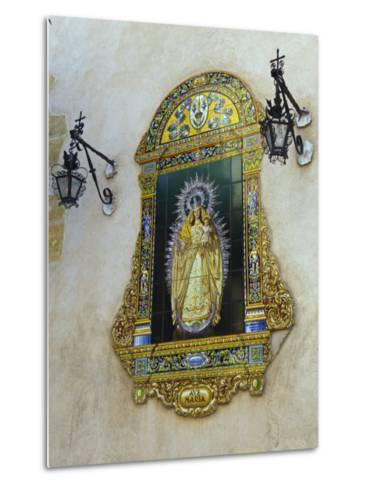 Tiled Picture of Mary and Jesus on a Street in Seville, Spain-John Warburton-lee-Metal Print