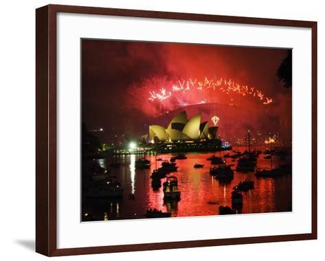 New South Wales, Sydney, Opera House and Coathanger Bridge with Boats in Sydney Harbour, Australia-Christian Kober-Framed Art Print