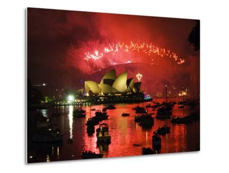 New South Wales, Sydney, Opera House and Coathanger Bridge with Boats in Sydney Harbour, Australia-Christian Kober-Metal Print