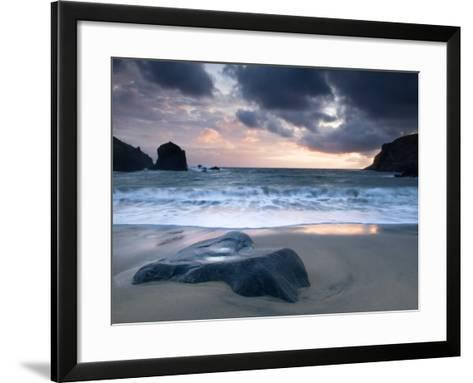 Sunset on Dalbeg Beach, Isle of Lewis, Hebrides, Scotland, UK-Nadia Isakova-Framed Art Print