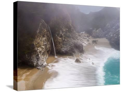 California, Highway 1, Julia Pfeiffer Burns State Park, Mcway Waterfall, USA-Alan Copson-Stretched Canvas Print