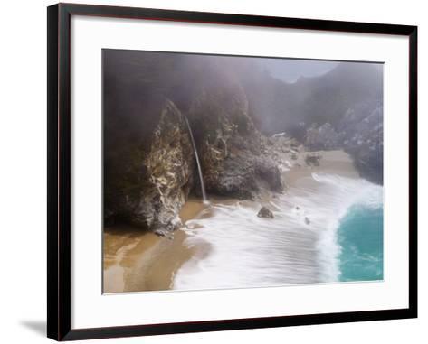 California, Highway 1, Julia Pfeiffer Burns State Park, Mcway Waterfall, USA-Alan Copson-Framed Art Print