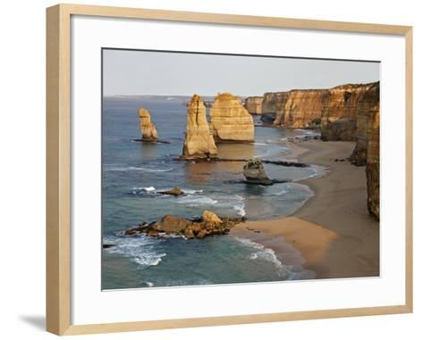 Victoria, Some of Twelve Apostles Standing in Shallow Water, Port Campbell National Park, Australia-Nigel Pavitt-Framed Art Print
