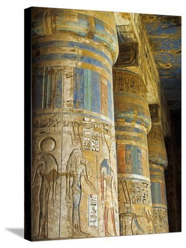 Painted Sunken Relief Carving Adorns Columns in the Mortuary Temple of Ramses Iii on the West Bank -Julian Love-Stretched Canvas Print
