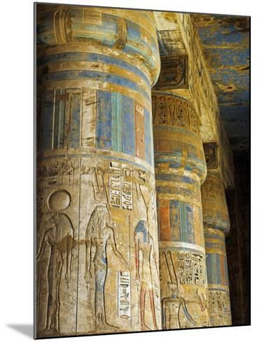 Painted Sunken Relief Carving Adorns Columns in the Mortuary Temple of Ramses Iii on the West Bank -Julian Love-Mounted Photographic Print