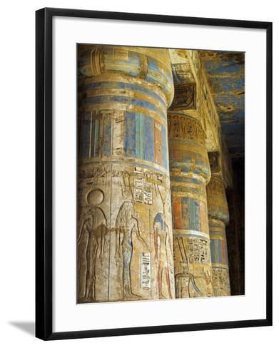 Painted Sunken Relief Carving Adorns Columns in the Mortuary Temple of Ramses Iii on the West Bank -Julian Love-Framed Art Print