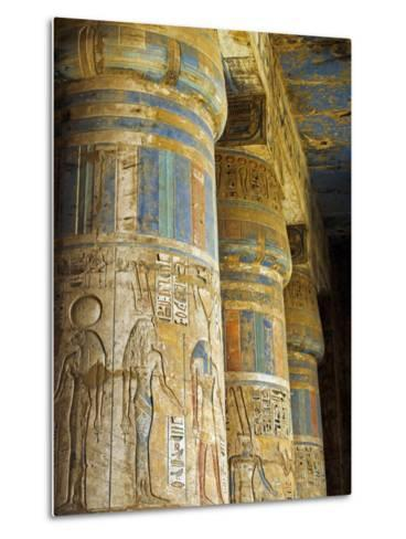 Painted Sunken Relief Carving Adorns Columns in the Mortuary Temple of Ramses Iii on the West Bank -Julian Love-Metal Print