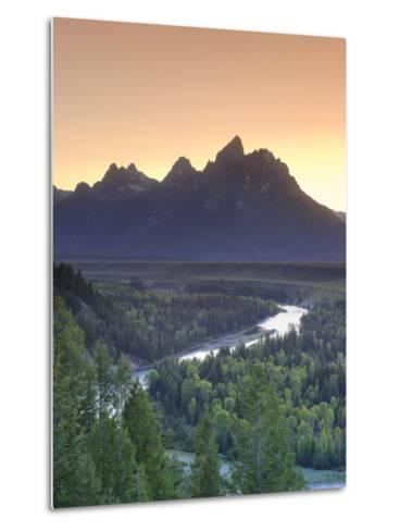 Snake River Overlook and Teton Mountain Range, Grand Teton National Park, Wyoming, USA-Michele Falzone-Metal Print