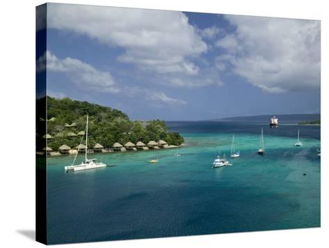 Efate Island Port Vila, Aerial View of Vila Bay and Iririki Island, Vanuatu-Walter Bibikow-Stretched Canvas Print