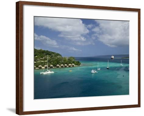 Efate Island Port Vila, Aerial View of Vila Bay and Iririki Island, Vanuatu-Walter Bibikow-Framed Art Print
