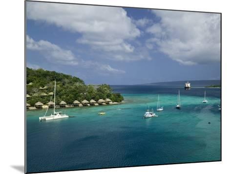 Efate Island Port Vila, Aerial View of Vila Bay and Iririki Island, Vanuatu-Walter Bibikow-Mounted Photographic Print