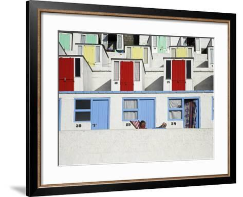 Beach Huts on Tolcarne Beach, Newquay, Cornwall, England-Julian Love-Framed Art Print