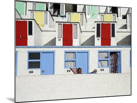 Beach Huts on Tolcarne Beach, Newquay, Cornwall, England-Julian Love-Mounted Photographic Print
