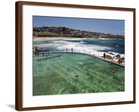 Swimmers Do Laps at Ocean Filled Pools Flanking the Sea at Sydney's Bronte Beach, Australia-Andrew Watson-Framed Art Print