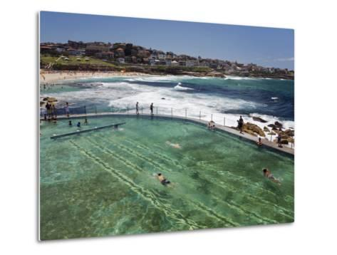 Swimmers Do Laps at Ocean Filled Pools Flanking the Sea at Sydney's Bronte Beach, Australia-Andrew Watson-Metal Print