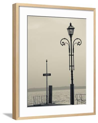 Veneto, Lake District, Lake Garda, Garda, Lakeside Pier View, Italy-Walter Bibikow-Framed Art Print