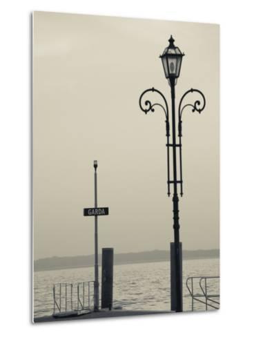 Veneto, Lake District, Lake Garda, Garda, Lakeside Pier View, Italy-Walter Bibikow-Metal Print